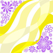 Purple flowers on a yellow — Stock Vector