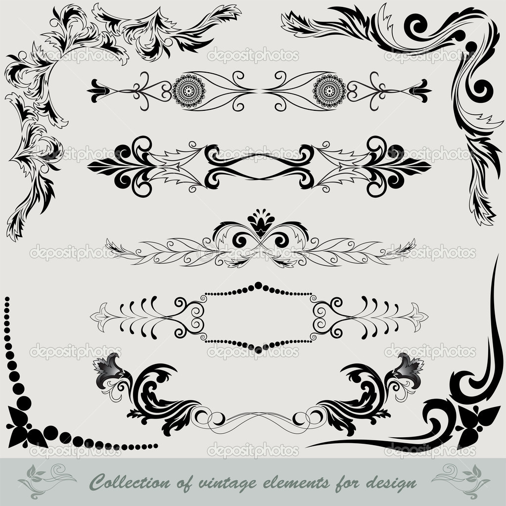 Collection of vintage elements — Stock Vector © Needle #5920738