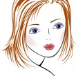 Stock Vector: Blue-eyed girl