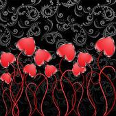 Flowers-Hearts — Stock Vector