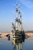 A sailing ship Fun anchored in Neva river — Stock Photo