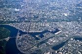 Blick von oben auf die stadt kiew — Stockfoto