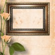 Stock Photo: Wooden frame for photo with beautiful roses