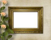 Wooden frame for photo with beautiful roses — Stock Photo