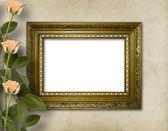 Holzrahmen für foto mit schönen rosen — Stockfoto