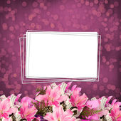Grunge paper for invitation or congratulations with a bouquet of — Stock Photo