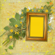 Old wooden frame for photo with bunch of flower — Foto de Stock