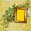 Old wooden frame for photo with bunch of flower — Foto Stock