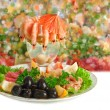 Appetizer of shrimp, fish, meats, olives and fresh vegetables — Stock Photo