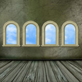 The big hall of an ancient castle with windows — Stock Photo
