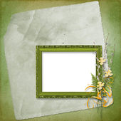Frame with bunch of willow and narcissus — Stock Photo