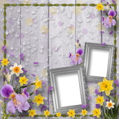 Old wooden background with frame and bunch of flower — Stock Photo