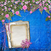 Writing abstract background with paper and floral beautiful bouq — Stock Photo