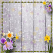 Old wooden background with frame and bunch of flower - Stock Photo