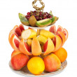 Stock Photo: Large amount of fresh fruit on isolated white background