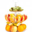 Large amount of fresh fruit on a isolated white background — Stock Photo #5812085