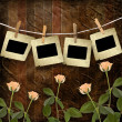 Grunge wooden background with slides and beautiful rose — Stock Photo