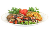 Vegetable marrows, eggplants, mushrooms with tomatoes and parsle — Stock Photo