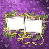 Oude krant achtergrond met frame en bos van bloem — Stockfoto