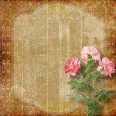 美しいバラとお祝いのグランジ背景 — ストック写真