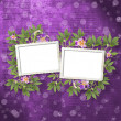 Old newspaper background with frame and bunch of flower - Stock Photo