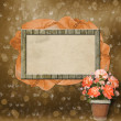 Wooden frame for photos with ribbon, beads and flowers — Stock Photo
