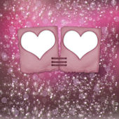 Multicoloured blur bokeh backdrop with slides and hearts — Stockfoto