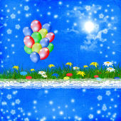Bright multicolored background with balloon and flowers — Stock Photo