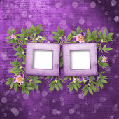 Old newspaper background with frame and bunch of flower — Stock Photo