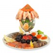 Постер, плакат: Appetizer of shrimp fish caviar olives and fresh vegetables