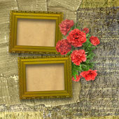 Congratulations to the holiday with frame and peony — Stock Photo