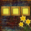 Old wooden frame for photo with bunch of flower — Stock Photo