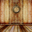 Antique clock face with lace on the wall in the room — Stock Photo