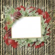 Abstract striped background with paper frame and bunch of twigs — Stock Photo
