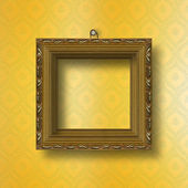 Old wooden frame for photo on the abstract paper background — Stock Photo