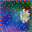 Bright multicolored background with balloons and confetti — Stock Photo