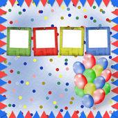 明亮的五彩的背景与气球和五彩纸屑 — 图库照片
