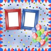 明亮的五彩的背景与帧、 气球和 confett — 图库照片