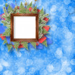 Abstract star background with wooden frame and bunch of twigs Ch — Stock Photo #6542790