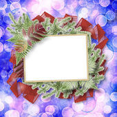Abstract blur boke background with paper frame and bunch of twig — 图库照片