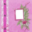 Pink album for photos with jeans, lace and orchid — Stock Photo