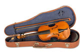 Old violin case with a bow on a white background isolated — Stock Photo
