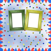 Bright multicolored background with frames, flags and confetti — Stok fotoğraf
