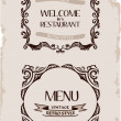 Vector vintage restaurant retro frame background paper — Stock Vector