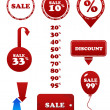 Vector red sale set. Stamp discount tags labels - Stock Vector
