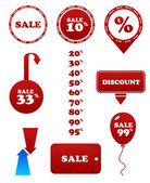 Vector red sale set. Stamp discount tags labels — Stock Vector