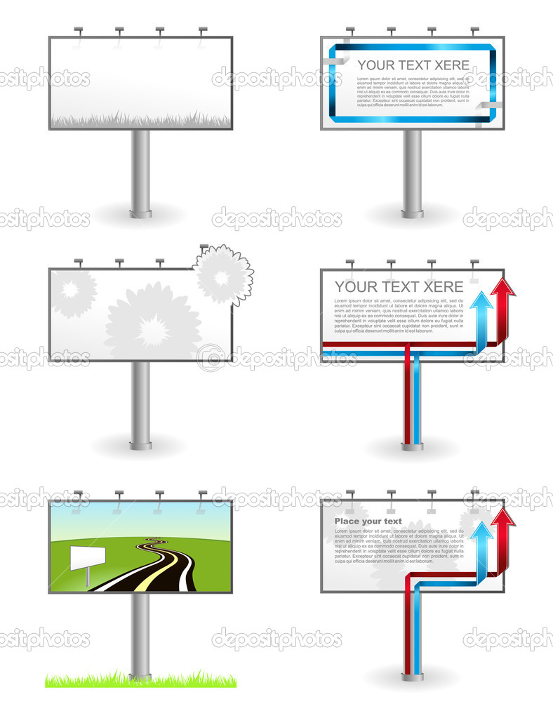 Vector advertising Outdoor Blank billboards set isolated  Stock Vector #5533900
