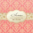 Invitation vintage label vector frame pink - Stok Vektör