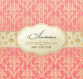 Invitation vintage label vector frame pink — Vettoriale Stock