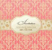 Uitnodiging vintage label vector frame roze — Stockvector